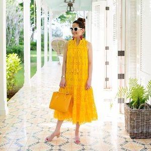 Kate Spade Yellow Eyelet Embroidered Midi Dress